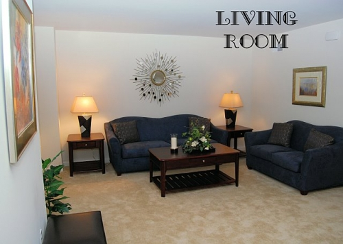 living room with dark furniture